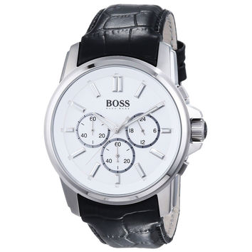 Hugo Boss 1513033 Men's White Dial Black Leather Strap Chronograph Watch