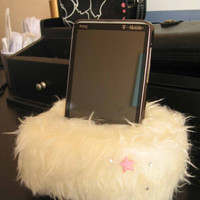 Plush Cell Phone, iPhone Holder Pouch Stand - Fluffy White