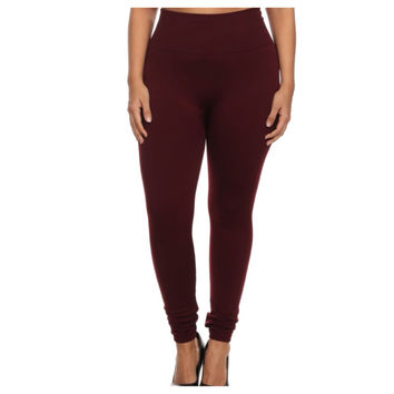"Your New Favorites! Must Have ""Amazing"" No Peek-a-Boo See Through PLUS Size Burgundy Leggings"