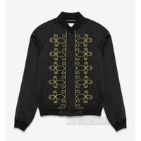 Indie Designs Saint Laurent Inspired Embroidered Teddy Black Satin Jacket