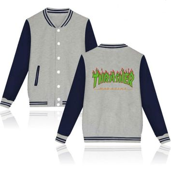 Thrasher flame special large size tide coat plus cashmere couple baseball clothing Green letters-2