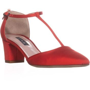 SJP by Sarah Jessica Parker Pet Buckle Heels, Red Grosgrain, 6.5 US / 36.5 EU