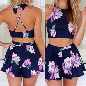 Flower Vest Tank Top Cami Skirt Shorts Set Two-Piece