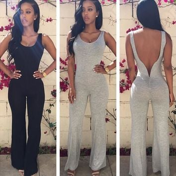 Backless Empire Irregular Bell-bottoms Long Jumpsuit
