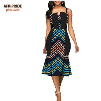 african summer women casual trumpet dress AFRIPRIDE sleeveless spaghetti strap knee-length women wax cotton dress A1825056