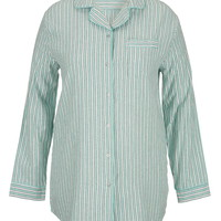 Plus Size - Striped Flannel Nightshirt - Aquamint