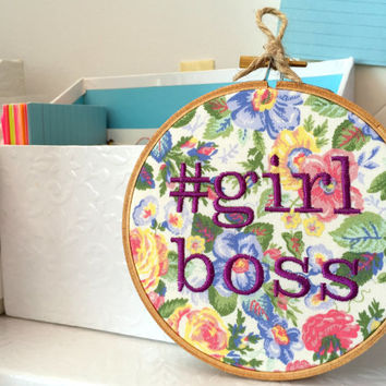 Girl Boss Wall Hanging - Feminist Embroidery - Funny Stitch