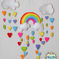 Rainbow and Hearts Felt Mobile, Baby Mobile, Nursery Mobile, Felt Wall Hanging