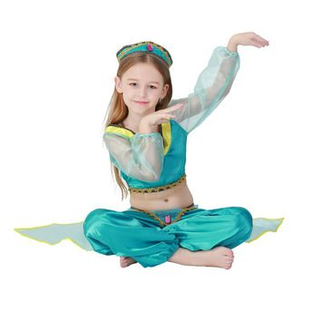 Aladdin's Lamp Jasmine Princess Costumes Cosplay For Children Halloween Party Belly Dance Dress Indian Princess Costume