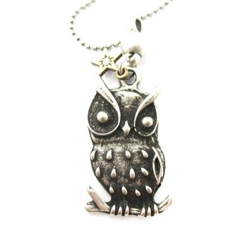 Detailed Owl On A Branch Bird Shaped Animal Inspired Pendant Necklace in Silver | DOTOLY