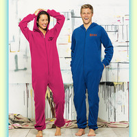 Monogrammed Adult Fleece Lounger Pajamas