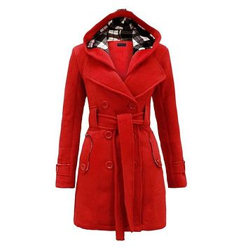 Autumn Winter New Women Casual Lace-up Hooded Wool & Blends Jacket Ladies Outwear Cashmere Trench Coats with Belt Plus Size 3XL