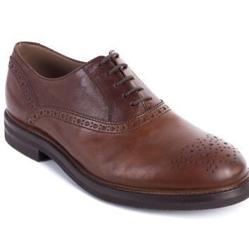 Brunello Cucinelli Men's Brown Leather Perforated Oxford