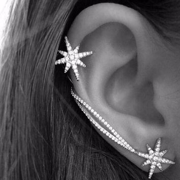 Fashion Women Punk Gothic Snowflake Rhinestone Clip Ear Cuff Wrap Stud Earrings Earrings For Women Jewelry