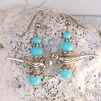 Bird Earrings Aqua Earrings Tiffany BlueEarrings Antique Silver Earring Bird Jewelry