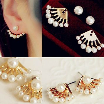 Front & Back Pearl Studs Earrings