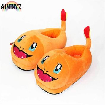 Female Floor Slippers Animal Fire Dragon Chausson Womens Indoor Female Shoes Winter Slippers Warm Soft Cute CartoonKawaii Pokemon go  AT_89_9