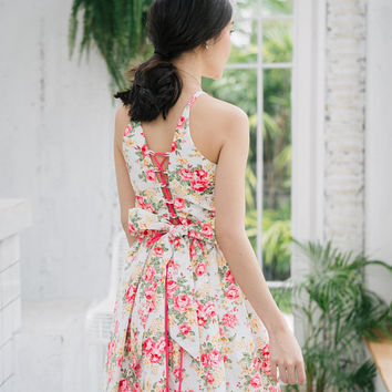 Floral Party Dress Summer Dress Vintage Modern Crisscross Back Swing Dance Dress Retro Pin Up Girl Style Bridesmaid Dress -3 Color Options
