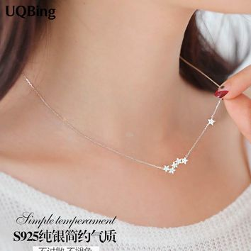 925 Sterling Silver Chain Necklaces Star Pendants&Necklaces Jewelry Collar Colar de Plata