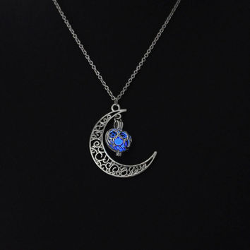 Blue glow in the dark silver moon with heart pendant necklace, key ring, or rear view mirror hanger