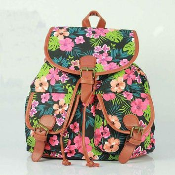 LMFON1O Day First Cute Flower Leaves Print School Bag Canvas College Backpack Daypack