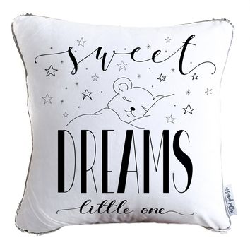 Sweet Dreams Little One Decorative Throw Velvet Pillow w/ Silver & White Reversible Sequins