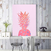 Pink pineapple, art poster, polka dots, cool birthday gifts, watercolor prints, kitchen wall art, pink and blue, art prints, teen room decor