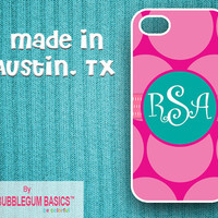 PERSONALIZED iPhone Case iPhone 4 4S iPhone 5 Phone Case - Big Pink Polka Dots Teal Circle Band - Monogrammed iPhone Case Custom Phone Case