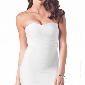 Indie XO After Hours White Sweetheart Neck Bandage Style Strapless Body Con Fitted Mini Dress - Just Ours!