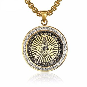 Golden Cuban Masonic Light Iced-Out Necklace