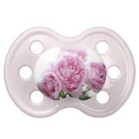 Pink peonies baby pacifier