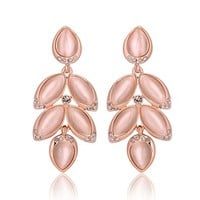 MLOVES Women's Classical Diamanted Crystal Opal Earrings