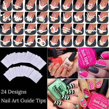 LMFEB2 24 sheets/lot French Manicure DIY Nail Art Tips Guides Stickers Stencil Strip Beauty Nail Tools Decoration