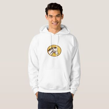 White Horse Head Sunburst Circle Woodcut Hoodie