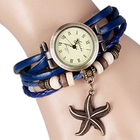 Blue Rope Leather Watch With Starfish Design