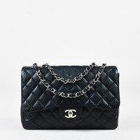 "Chanel Black Caviar Leather Quilted Jumbo ""Classic Single Flap"" Bag"