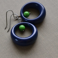 Navy Lucite Hoop Earrings, Navy and Green Lucite, Hoop Earrings, Mod and Retro Earrings