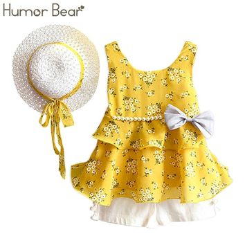 Humor Bear Girls Clothes Sets 2018 Summer Children Clothes Coat+Shorts+Hat  kids Clothing 3PCS Suit