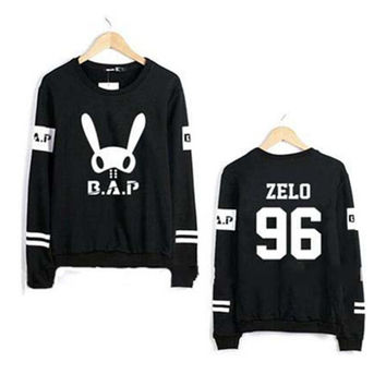 Kpop bap b.a.p bunny and member name printing o neck hoodie fashion pullover sweatshirt plus size bap fans lovers moletom