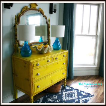 RESERVED FOR HEIDI Antique Dresser Distressed in Sunshine Yellow