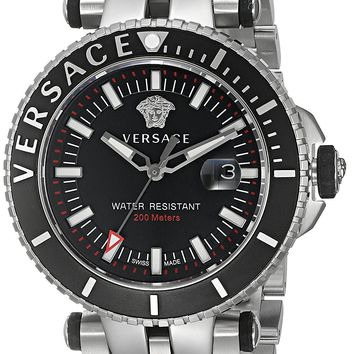 Versace Men's 'V-Race' Swiss Quartz Stainless Steel Casual Watch, Color:Silver-Toned (Model: VAK030016)