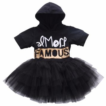 1-7Y summer cool Xmas black minnie mouse letter children kids clothes Toddler Baby Party Princess Girls Hoodies Dress Hooded