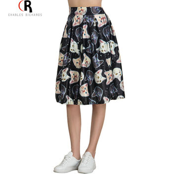 Women High Waist Casual Midi Skater Cute Cat Animal Prints Skirt 3 Colors Spring Summer Fashion