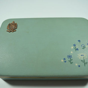Vintage Farrington Jewelry Box Blue Fashioned by Farrington Made In U.S.A. Genuine Texol Flowers and Butterfly Design Vintage Case