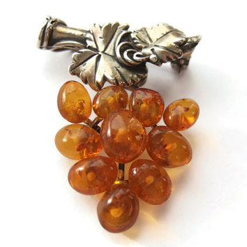 Vintage Art Nouveau style amber bunch of grapes brooch, sterling silver branch and vine leaves, #264.