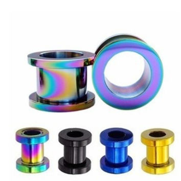 11/11 titanium steel hollow ear tunnel color expander ear expansions 2-10mm gauges plugs tunnels body jewelry piercing tragus 2p