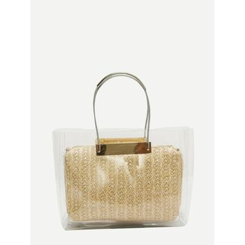 Khaki Clear Tote Bag With Clutch