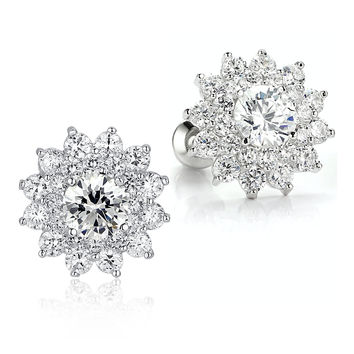 Sunflower W. Clear Round Cubic Zirconia Stud Earrings