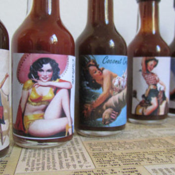 "Father's Day BBQ Gift Set ""Pin up Girls"" BBQ Sauces ~ perfect for sexy Grill Master husband boyfriend lover bachelor son gift Basket idea"