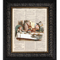 ALICE IN WONDERLAND MAD TEA PARTY Dictionary Art Print